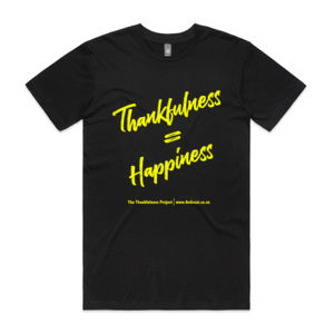 Thankfulness T - Yellow Writing Single side - logo colour customisable Thumbnail
